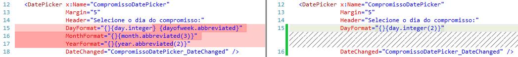 XAML com um elemento em cada linha