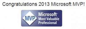Congratulations 2013 Microsoft MVP